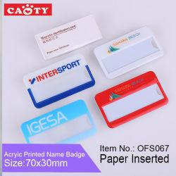 플라스틱 국제적인 종이에 의하여 삽입되는 ID 기장 아크릴 바늘 유명한 격판덮개