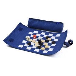 직물 여행 체스 게임 세트가 주문 파란 Handmade에 의하여 위로 구른다