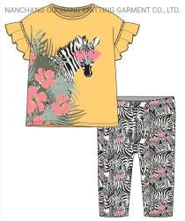 Vestuário de criança Bonitinha manga curta Kids Suit para as meninas com impressão Zebra e manguito Flounce T-shirt e calças compridas