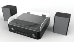 CD HiFi 미니 시스템(CD 플레이어, MP3, 라디오, 2 X 20W 출력 전원, 양방향 스피커, Bluetooth, 음악 스트리밍, USB/헤드폰), 검은색