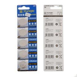 공장 공급 Tianqiu CR2032 리튬 버튼 셀 건식 배터리 3V 배터리 탑 알카라인 및 탄소 배터리 공장
