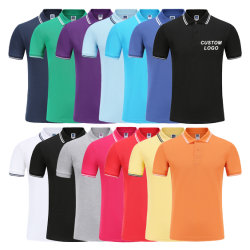 Il golf nero bianco in bianco normale mette in mostra la camicia di polo degli uomini del cotone ricamati marchio su ordinazione