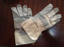 Vinil Cinza económico/PVC impregnados de couro artificial luvas de trabalho Química