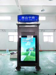 65'' de suelo de alto brillo de la parada del autobús Pantalla LCD al aire libre con la vivienda