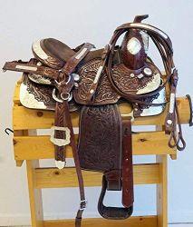 Blue Lake Silver Premium véritable cuir de vache plaisir de l'Ouest montrent cheval de selle selle western en cuir Le cuir Headstall + col du cancer du sein + Rein