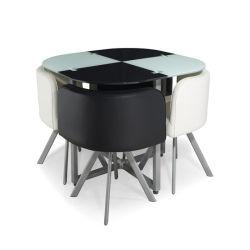 Meubles de salle à manger Cuisine plateau en verre de jeux de table Table à manger ensemble
