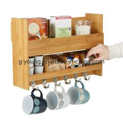 タケ台所記憶のオルガナイザーの木製の壁の台紙のコーヒー・マグラック