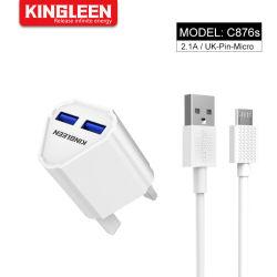 Großbritannien Pin-schneller Ladung-Adapter Mikrodoppel-Kabel-Installationssatz USB-2.0, (schnelle Hauptwand-Aufladeeinheit + Mikrokabel) für Handy
