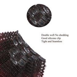 Закрепите в 100% волос человека для чернокожих женщин расширений фигурные Clip Ins черный цвет 8 штук и 120g/Set Реми бразильский волос
