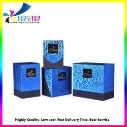 Vakje van het Document van de Gift van de Juwelen van het Parfum van het Karton van de Luxe van de douane het Vierkante Blauwe Verpakkende Kosmetische met Tussenvoegsel