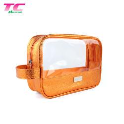 贅沢な金属PUの洗面用品または洗面所の構成のブラシの防水ジッパーロックのゆとりPVC旅行化粧品袋
