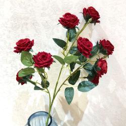 9 Parte de cabeça Decoração Peony Seda casamento de Flores bouquet de rosas artificiais