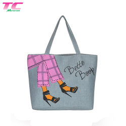 Fabbrica grigia stampata abitudine calda del sacchetto di Tote della tela di canapa di vendita, borsa del Tote di acquisto del cotone della drogheria della spalla di modo