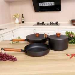 Cookware 3PCS stellt Wok 30 mit Suppe-Potenziometer des Deckel-22 mit Bratpfanne des Deckel-26 mit Deckel ein
