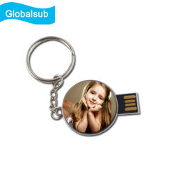قرص فلاش USB معدني دائري الشكل لطباعة Sublimation