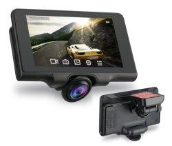 """5.0 """"タッチ画面HD1080pのビデオダッシュカム360度のパノラマ式の二重通信簿DVR"""