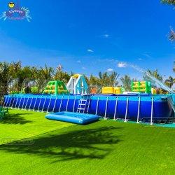 Популярные гигантский водный парк с плавающей запятой игра стальная рама купальный бассейн надувной бассейн для взрослых и детей