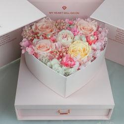 Geschenk der neue Art-besten Valentinsgrüße Tageskonservierte Rosen der Rose-Blumen-5 in Heart-Shaped Geschenk-Kasten für Ihre Liebe
