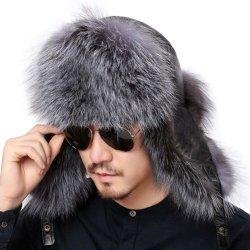 Couro de ovinos verdadeiro Fox Fur Hat com fivela ajustável no interior