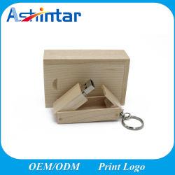 Fotografia Casamento Dom Wood disco flash USB & Chaveiro de metal da caixa de uma unidade flash USB