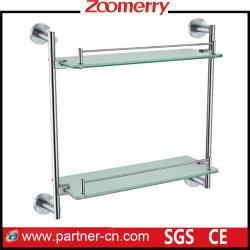 Mensola di vetro della stanza da bagno dell'acciaio inossidabile 304 dei fornitori doppia (06-3013)