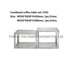 Nouveau design Dopro poli en acier inoxydable brillant Table à café combiné Set (2PCS) , point c201, avec deux couches de verre trempé clair