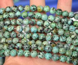 半宝石の自然な水晶アフリカのトルコ石のビードの球