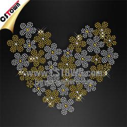 Flores en forma de corazón Nailhead Bling transferencias de prensa de calor