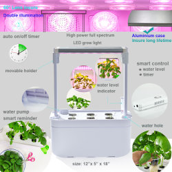 Il POT di verdure della pianta della piantatrice del giardino dell'interno di coltura idroponica del sistema di cucina dell'erba astuta degli apparecchi con il LED coltiva l'indicatore luminoso