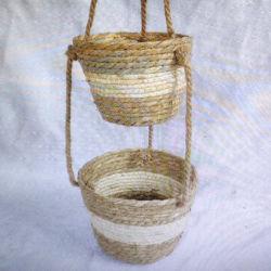 Завод подвешивания корзину сельской местности дома декоративные хранения водяного гиацинта плетеной/Cattail листьев