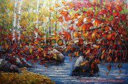 Artesanal chineses paisagem florestal Galpão de pintura a óleo por faca