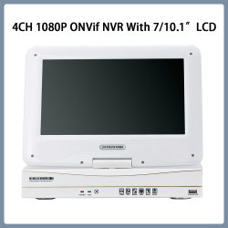 7/10.1 インチ LCD 付き 4ch 1080p P2P ONVIF ビデオ NVR