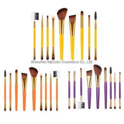 De in het groot Oranje Reeks van de Borstel van de Make-up van het Etiket van de Kleur Kosmetische Privé 9PCS