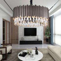 La mode rétro moderne simple rectangle créatrice de luxe lustre en cristal noir Salle à manger de l'éclairage à LED Lampes de poignée de commande