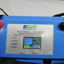Bluetooth BMS LCD 스크린을%s 가진 12V 100ah 재충전 전지 팩