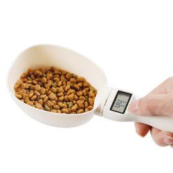 Escala de alimentos para mascotas perros gatos Cup para alimentar a la cubeta de medición de la cuchara Báscula de cocina boca Cup portátil con pantalla de LED