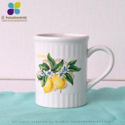 Tazza di ceramica della tazza di rilievo della banda verticale per il limone del tè di pomeriggio della prima colazione
