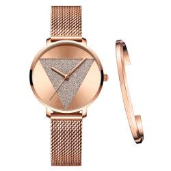 OEM van de fabriek Horloge van het Ontwerp van het Roestvrij staal van het Merk van het Kwarts van het Ontwerp het Recentste Zwarte Gouden voor Dames