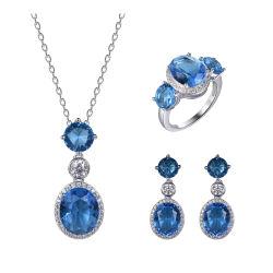 Устраивающих 925 серебристые стекло моды цепочка Earring кольца украшения для свадьбы