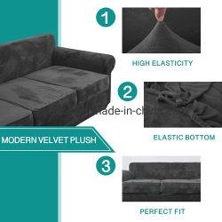 مخمل أريكة الزلّة تغطية لأنّ 2 وسادة أريكة [لوفست] مع 2 منفصل وسادة تغطية
