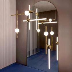 تصميم الفن الحديث في مرحلة ما بعد الحداثة مصابيح المدلاة الذهبية بفندق Creative Long Stick Hotel الديكور ضوء أنبوب الأريون (WH-AP-271)