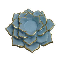 China BSCI Tampo de fábrica aprovado pela CE Polyresin flor de lótus resina forma suporte para velas decorativas para a decoração da casa e jardim