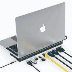 Stazione di aggancio del mozzo del USB C per 4K HD MI, VGA, RJ45 Ethernet, porte di 4X USB3.0, 100W palladio, audio del lettore di schede di SD/TF 3.5mm