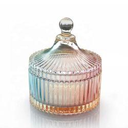 Tarro de cristal con forma de diamante para hacer velas con tapa de cristal dulces Jarra de cristal con tapa