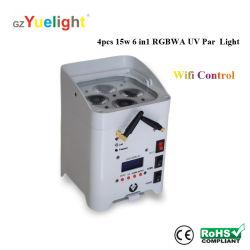 무선 WiFi 컨트롤 충전식 배터리 전력 4X15W RGBWA UV LED 파 캔 라이트