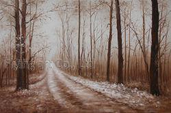 Peinture d'huile pour la rue dans la forêt
