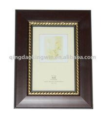 Cadre Photo en plastique conique en brun foncé avec bordure dorée