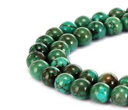 Vert foncé turquoise naturelle de pierres précieuses Perles Smooth Round lâche peut faire des bijoux bracelets et colliers et une variété de bijoux de mode 4mm - 14mm