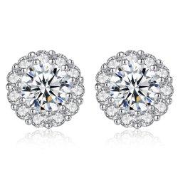 花嫁の結婚式の宝石類の方法実質の925の銀製のスタッドのイヤリング