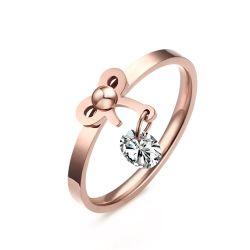 Прелестная бабочка узел Rose-Gold кольцом камня для девочек